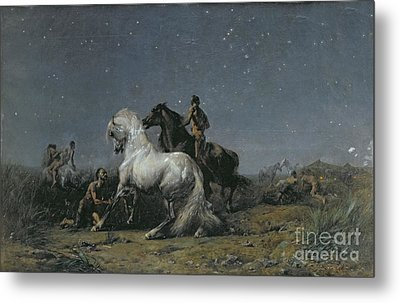 The Horse Thieves Metal Print by Ferdinand Victor Eugene Delacroix