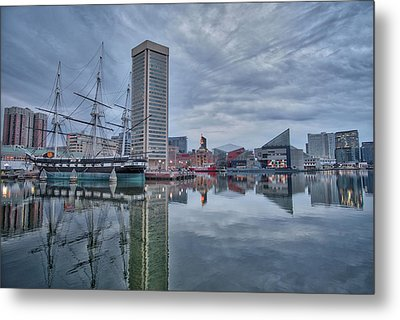 Metal Print featuring the photograph The Inner Harbor On A Sunday Cloudy Morning by Mark Dodd
