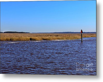 The Intracoastal Waterway In The Georgia Low Country In Winter Metal Print by Louise Heusinkveld