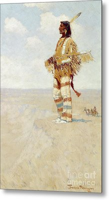 The Last Of His Race  The Vanishing American, 1908 Metal Print by Frederic Remington