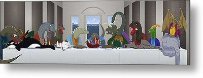 The Last Supper Of Raptor Jesus Metal Print