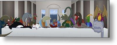 The Last Supper Of Raptor Jesus Metal Print by Greasy Moose