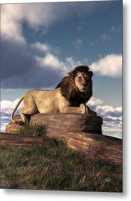 Metal Print featuring the digital art The Lazy Lion by Daniel Eskridge