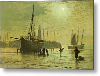 The Lighthouse At Scarborough Metal Print by John Atkinson Grimshaw