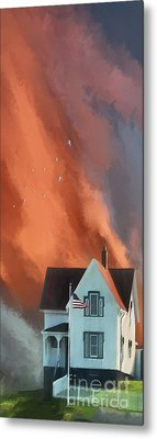 Metal Print featuring the digital art The Lighthouse Keeper's House by Lois Bryan