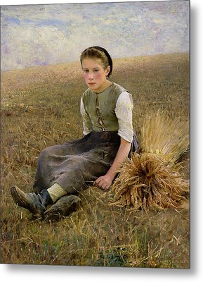 The Little Gleaner Metal Print by Hugo Salmson