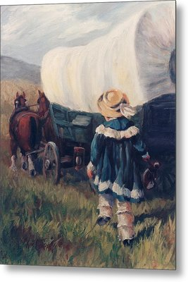 The Little Pioneer Western Art Metal Print by Kim Corpany