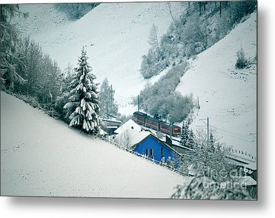 Metal Print featuring the photograph The Little Red Train - Winter In Switzerland  by Susanne Van Hulst