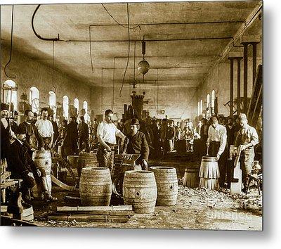The Making Of Beer Barrels Circa 1880 Metal Print by Jon Neidert