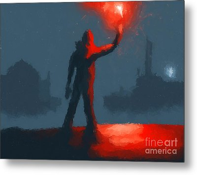 The Man With The Flare Metal Print by Pixel  Chimp