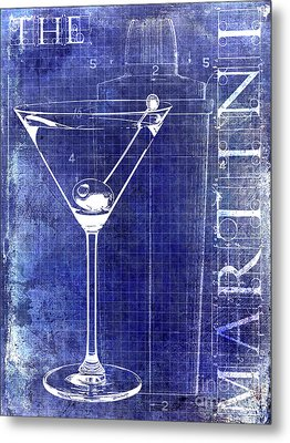 The Martini Patent Blue Metal Print by Jon Neidert