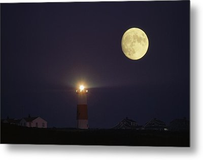 The Moon Shines Above The Sankaty Head Metal Print by James L. Stanfield
