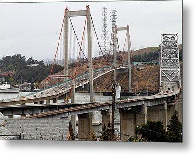 The New Alfred Zampa Memorial Bridge And The Old Carquinez Bridge . 7d8915 Metal Print