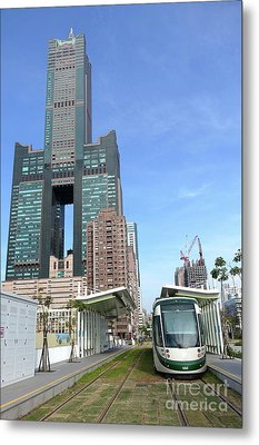 Metal Print featuring the photograph The New Kaohsiung Light Rail Train by Yali Shi