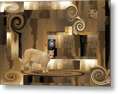 The Next Step - Cat In Abstract Metal Print
