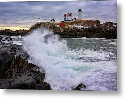 The Nubble After A Storm Metal Print by Rick Berk