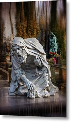 Metal Print featuring the photograph The Old Man Of Powazki Cemetery Warsaw  by Carol Japp