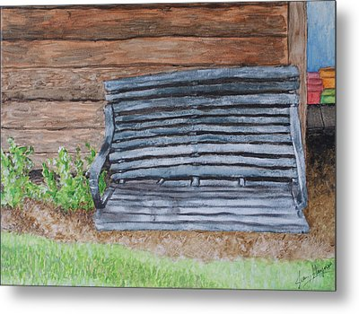 Metal Print featuring the painting The Old Porch Swing by Jean Haynes