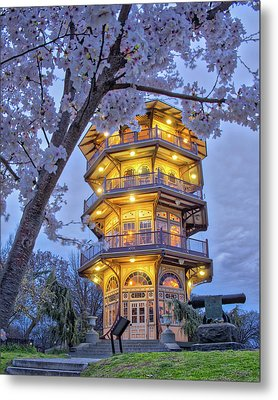 Metal Print featuring the photograph The Pagoda In Spring At Blue Hour by Mark Dodd