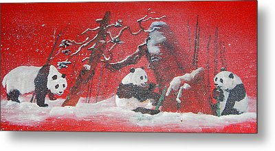 Metal Print featuring the painting The Pandas Come On Red by Debbi Saccomanno Chan