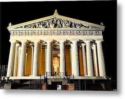 The Parthenon In Nashville Tennessee At Night  3 Metal Print