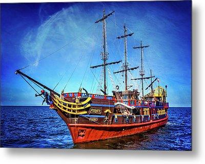 The Pirate Ship Ustka In Sopot  Metal Print by Carol Japp
