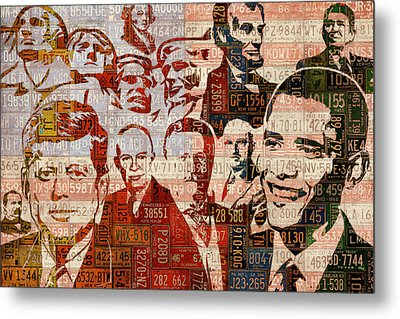 The Presidents Past Recycled Vintage License Plate Art Collage Metal Print by Design Turnpike