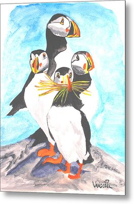 The Puffins Family Metal Print