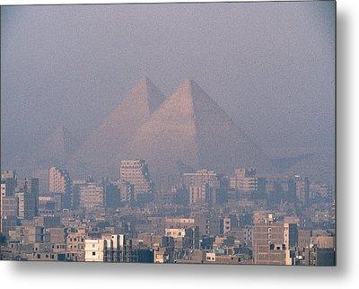 The Pyramids At Giza And Cairo Metal Print by Martin Gray