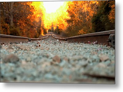 Metal Print featuring the digital art The Railroad Tracks From A New Perspective by Chris Flees