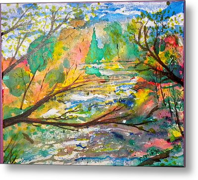 The Red Bridge At The Swift River Metal Print by Perry Conley