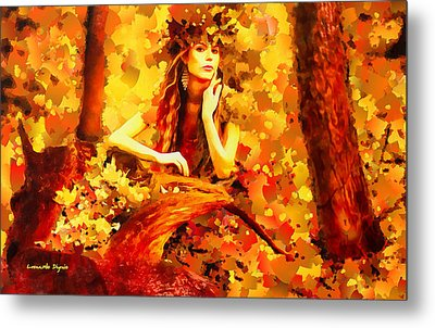 The Red Forest Lady - Da Metal Print