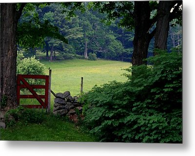 The Red Gate Metal Print by Lois Lepisto