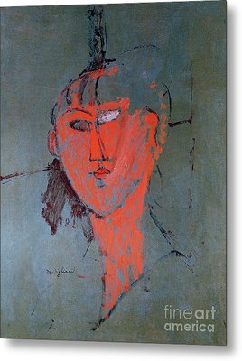 The Red Head Metal Print by Amedeo Modigliani