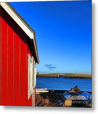The Red Shack And The Cribstone Bridge Metal Print