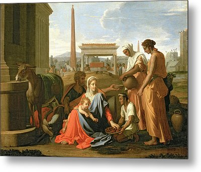 The Rest On The Flight Into Egypt Metal Print by Nicolas Poussin