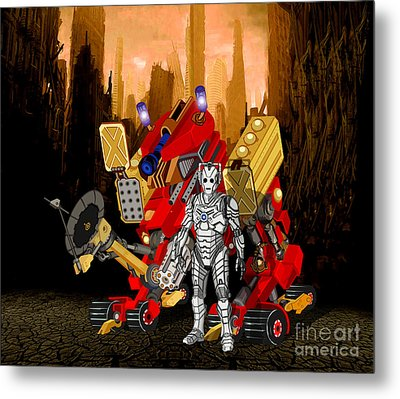 The Robot's Deadly Weapon Metal Print