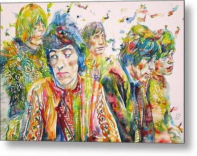 The Rolling Stones - Watercolor Portrait Metal Print