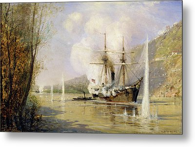 The Russian Destroyer Shutka Attacking A Turkish Ship On The 16th June 1877 Metal Print by Aleksei Petrovich Bogolyubov
