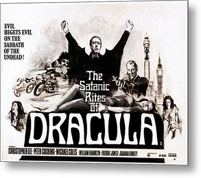 The Satanic Rites Of Dracula, Center Metal Print by Everett
