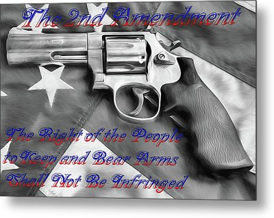 The Second Amendment Black And White Metal Print by JC Findley