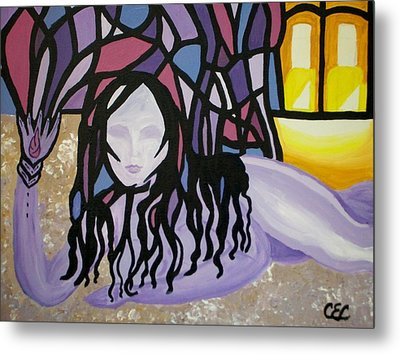 Metal Print featuring the painting The Seed by Carolyn Cable