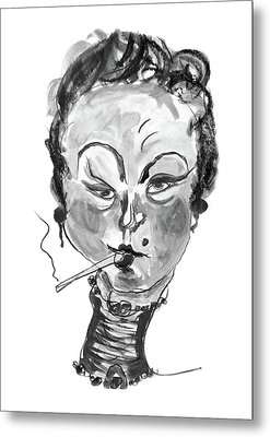 Metal Print featuring the mixed media The Smoker - Black And White by Marian Voicu