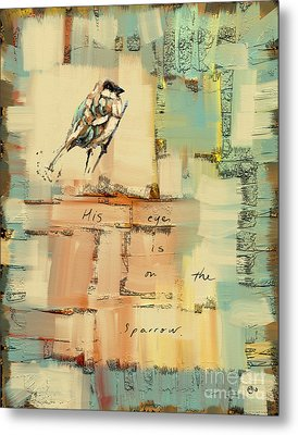Metal Print featuring the mixed media The Sparrow by Carrie Joy Byrnes