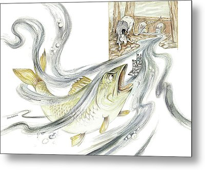 The Steadfast Tin Soldier - In Paper Boat, Pursued By Angry Rat, Hungry Fish - Illustration Metal Print