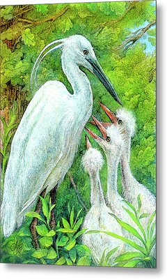 The Stork - A Symbol Of Childbirth Metal Print by Natalie Berman