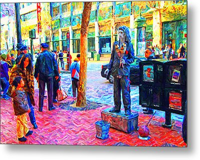 The Street Performer . Photo Artwork Metal Print by Wingsdomain Art and Photography