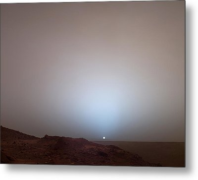 The Sun Setting Below The Rim Of Gusev Metal Print by Nasa