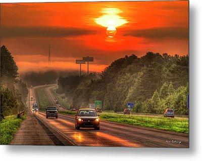The Sunrise Commute Georgia Interstate 20 Art Metal Print