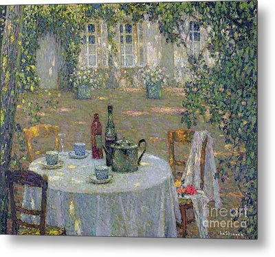 The Table In The Sun In The Garden Metal Print by Henri Le Sidaner
